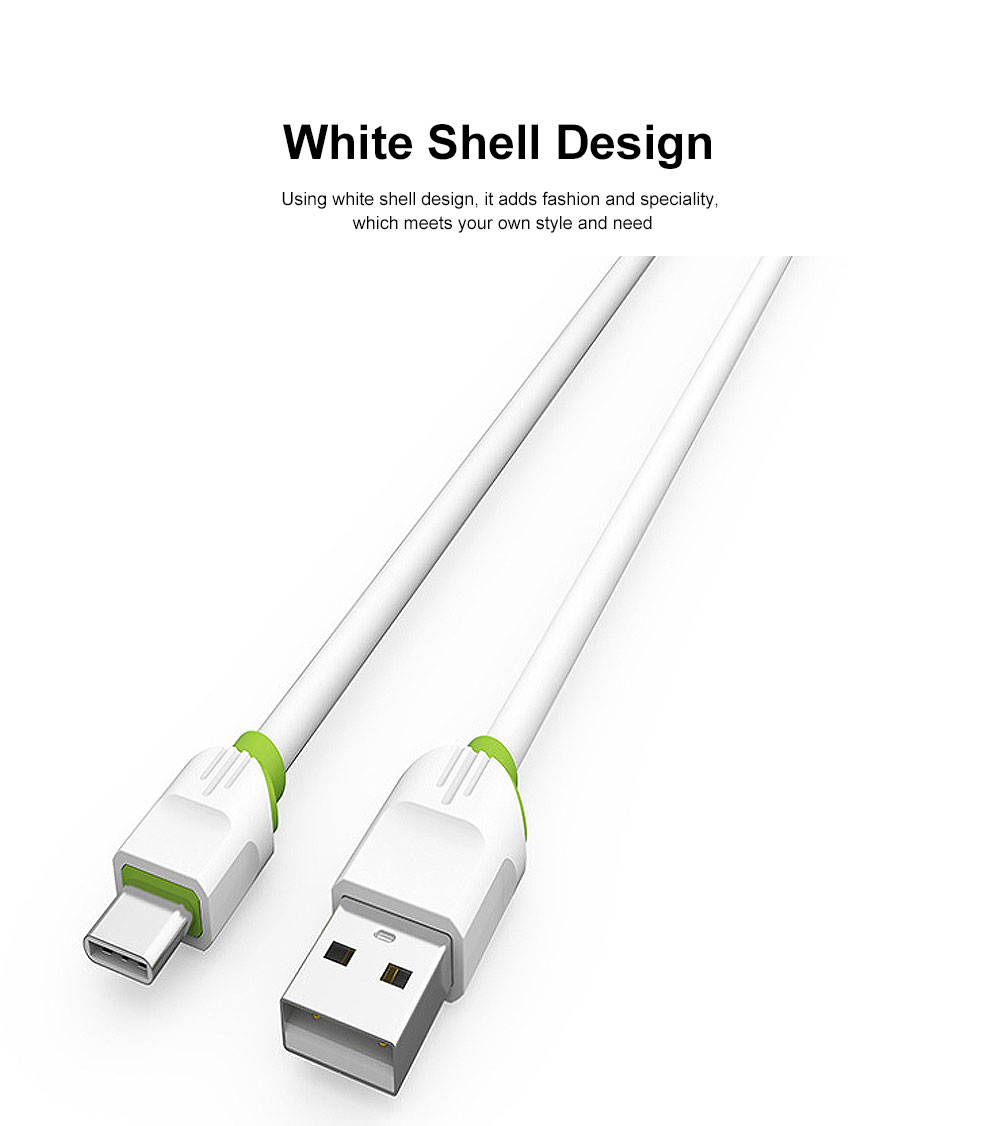 2.1A 1m USB Charging Cable Android iPhone Type C Phone Fast Charger Cord White 1