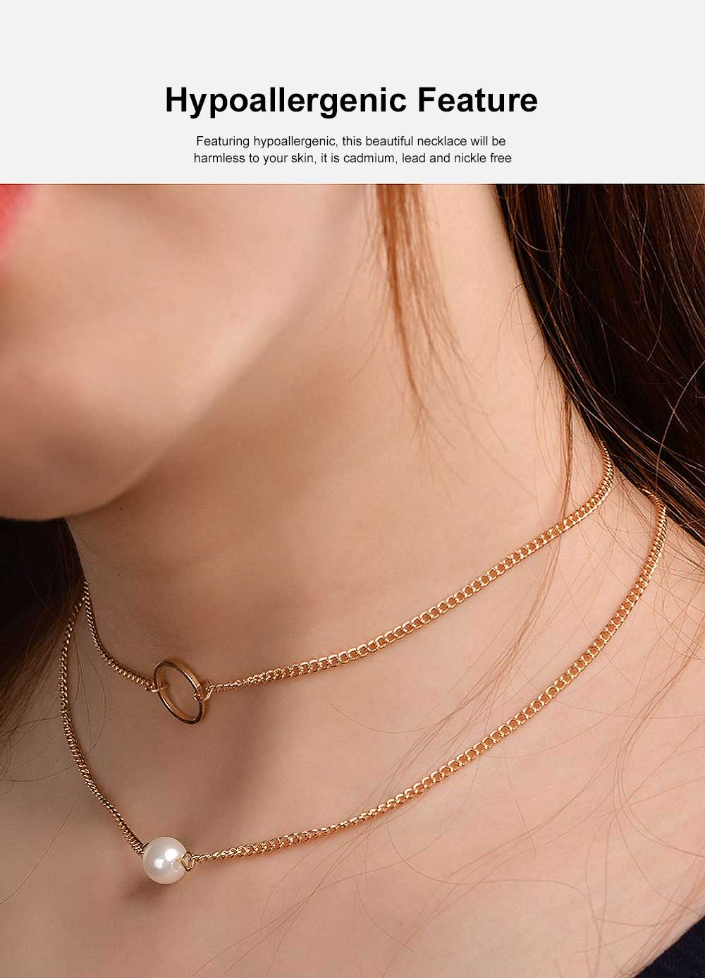 Layered Choker Necklace Pearl Pendant Necklace Double Anti-Rusty Chain Personalized Jewelry Gift for Women 4
