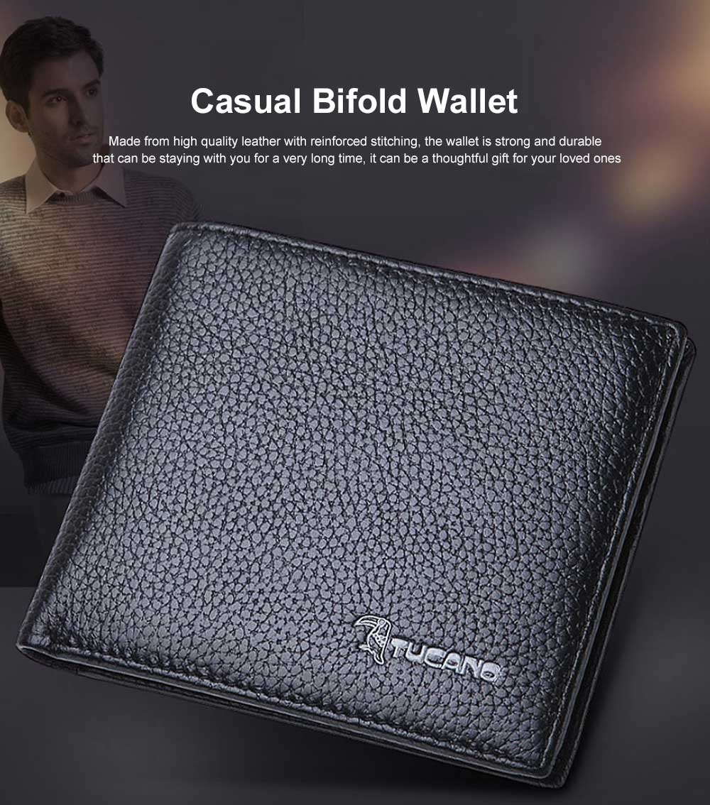 Men's Thin Sleek Casual Bifold Wallet with Credit Card Pockets Compact Cowhide Leather Wallet 0