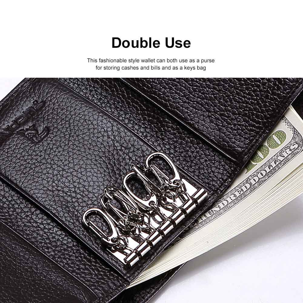 Genuine Cowhide Leather Unisex Style Wallet Large Capacity Key Bag for Both Men and Women 3
