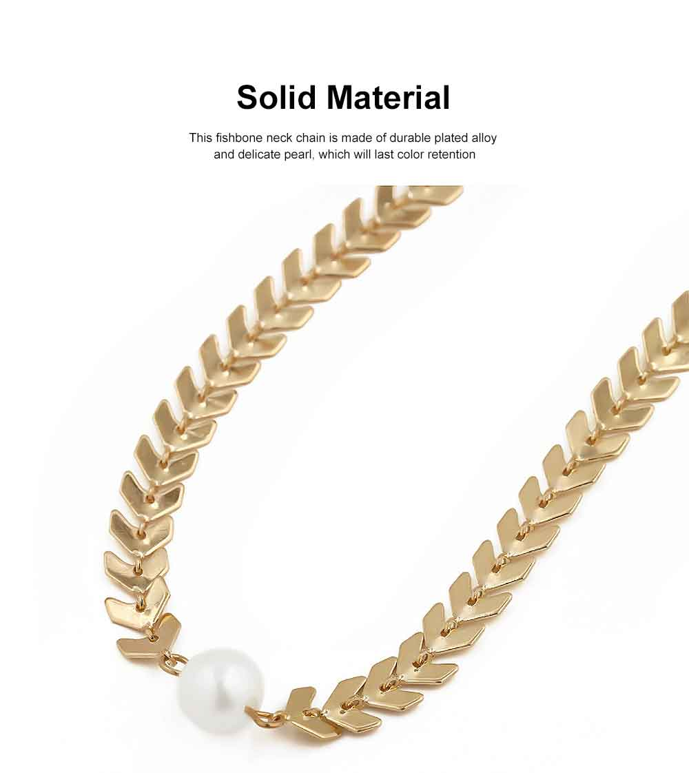 Fishbone Choker Necklace Pearl Pendant Chain Casual Choker Necklace for Women and Girls 3