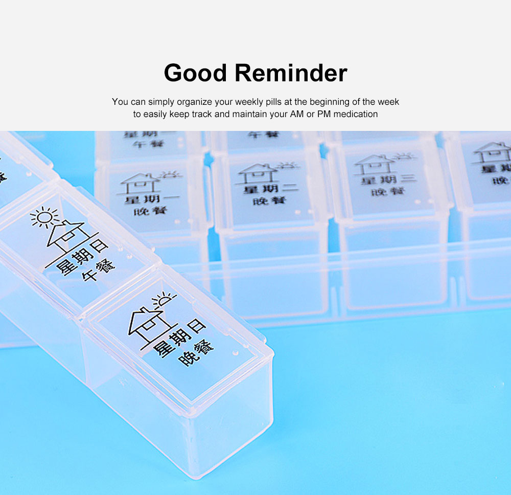 Weekly Pill Organizer Portable 7 Day Pill Box Case with 28 Large Separate Compartments for Medication, Vitamins, Fish Oil and Supplements 4