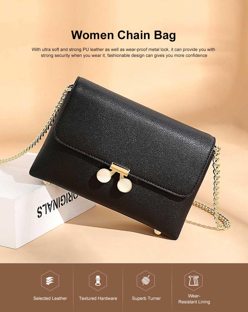 Women Chain Bag Fashion PU Leather Cross-Body Shoulder Bags Ladies Clutch Handbag 0