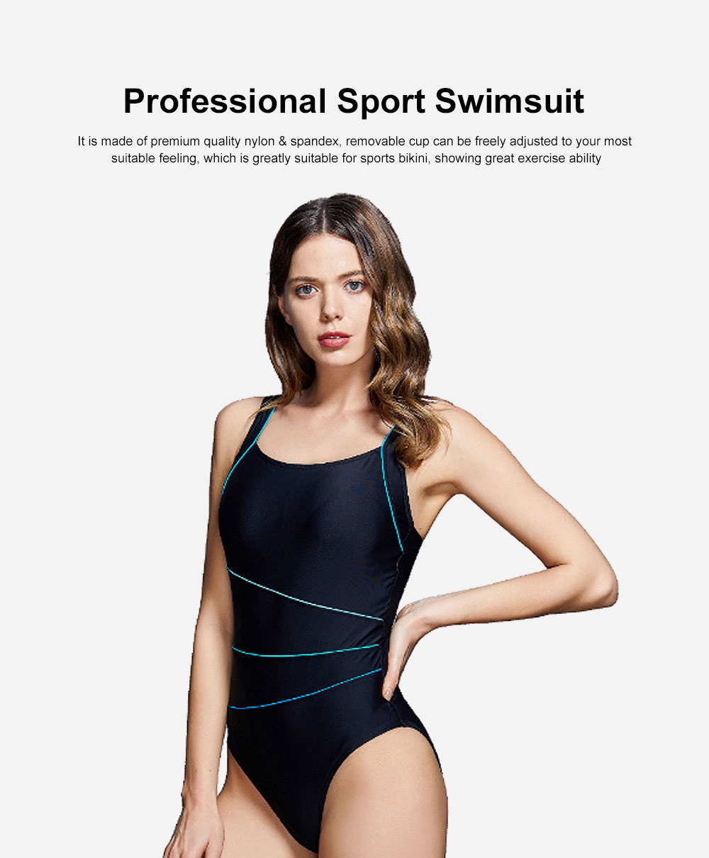 Professional Sport Swimsuit Minimalist Stylish Three Colors Joint Quick-dry Bikini with Elastic Dripping Belt 0