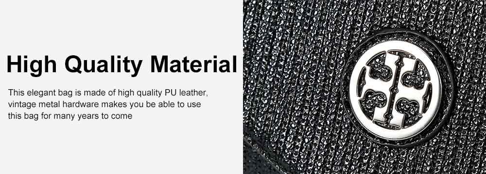 Women's Stylish Practical PU Leather Shoulder Bag Handbag with Detachable Shoulder Strap Black 5