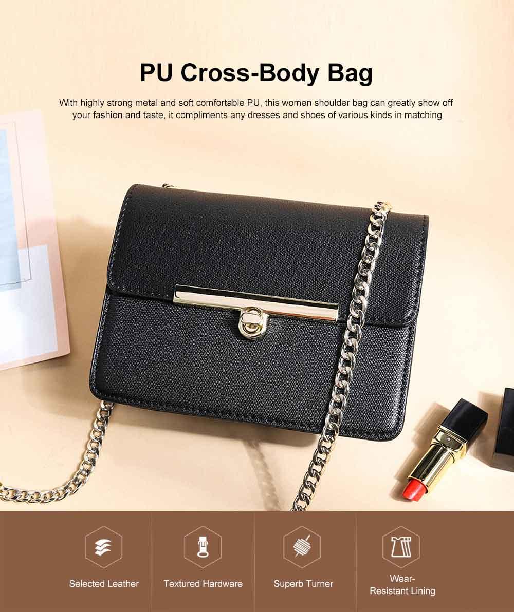 PU Leather Cross-Body Shoulder Clutch Purse Evening Handbag with Chain 0