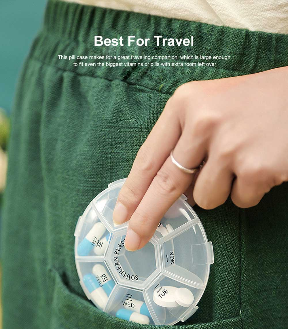 Weekly Clear Pill Organizer Large Round Travel Medication Reminder with 7 Compartments 5