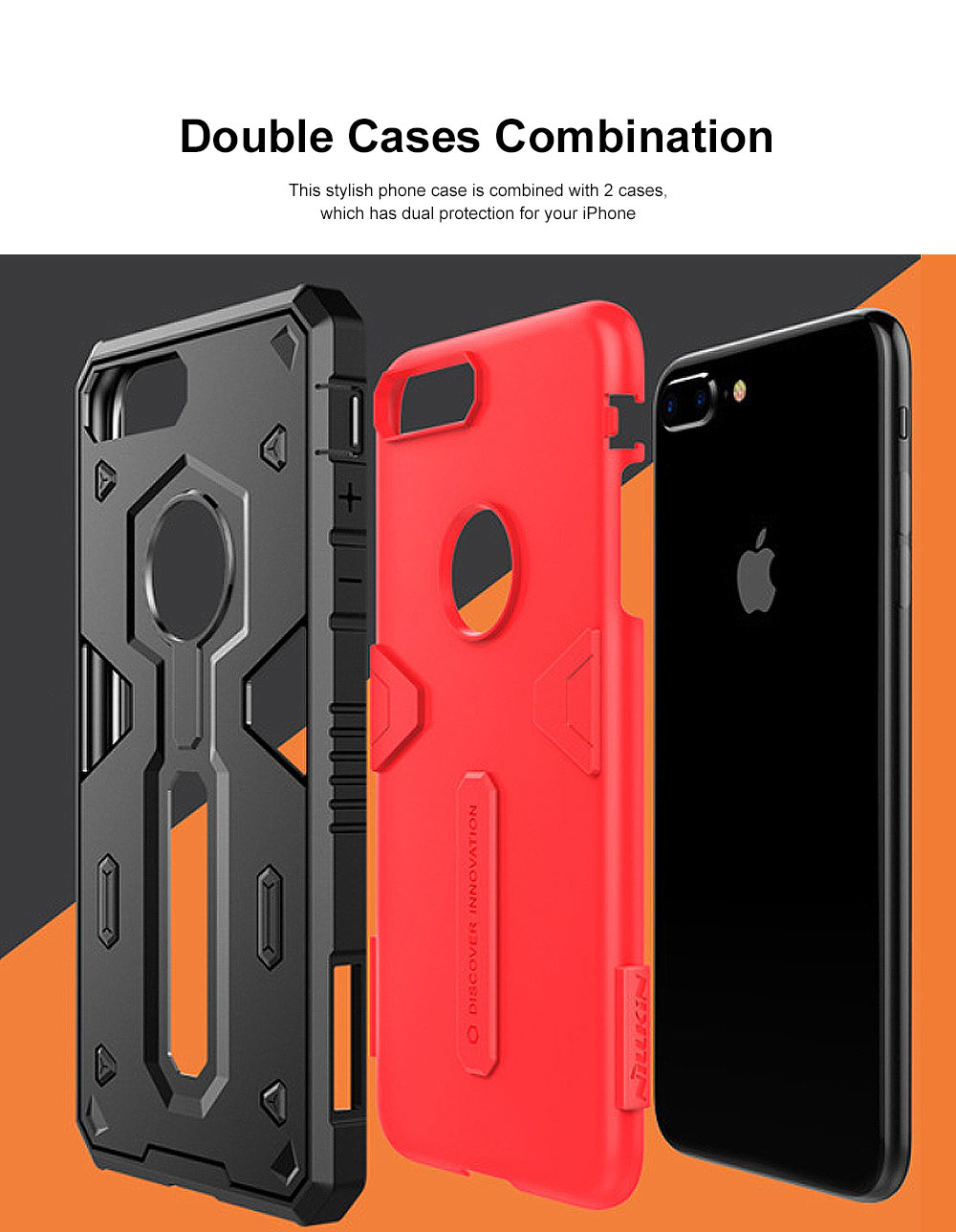 Armour Shape Cool Phone Back Cover Shell Case Color Mixture Stylish Holder TPU Built-In for iPhone 8 Plus PC Protective Case 2