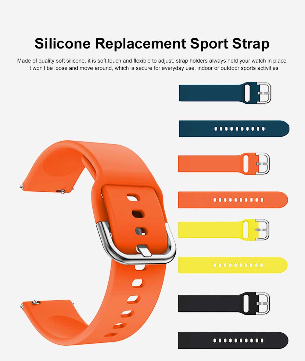 Sport Silicone Replacement Watch Band Compatible with Samsung Galaxy Watch Active Bands 20mm Silicone Wristband 8 Colors 0