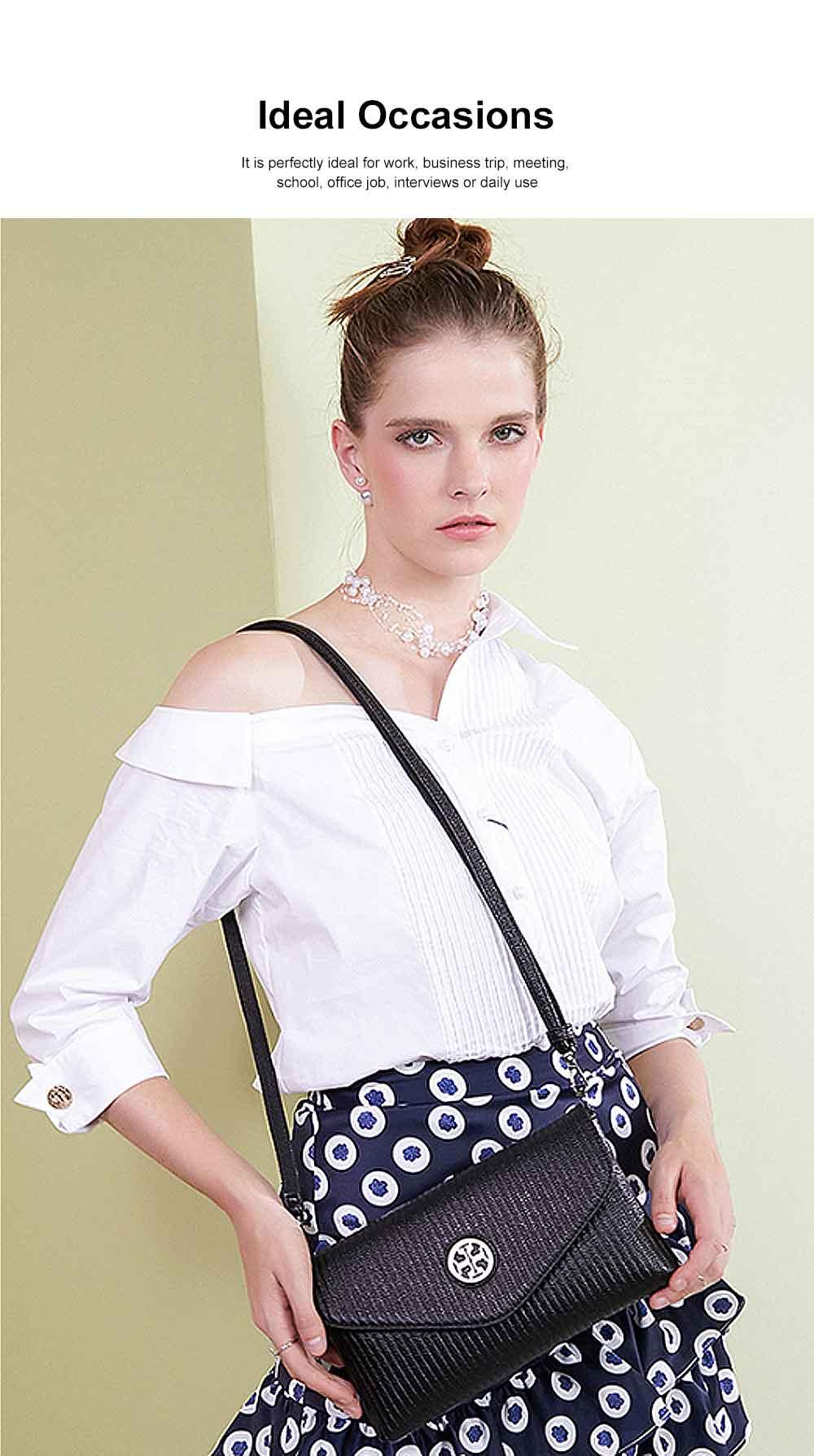 Women's Stylish Practical PU Leather Shoulder Bag Handbag with Detachable Shoulder Strap Black 2