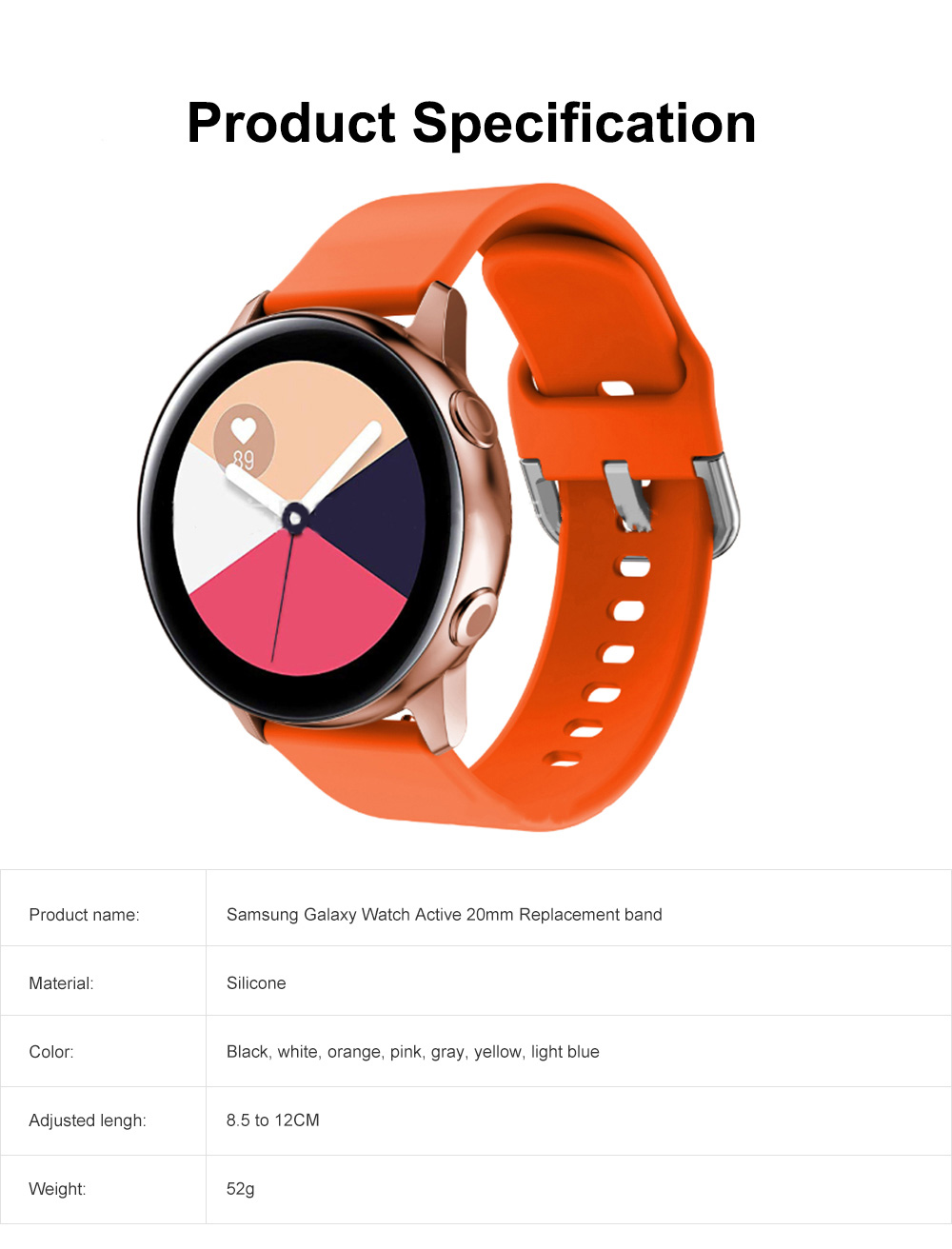 Sport Silicone Replacement Watch Band Compatible with Samsung Galaxy Watch Active Bands 20mm Silicone Wristband 8 Colors 6