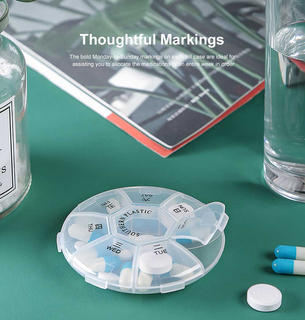 Weekly Clear Pill Organizer Large Round Travel Medication Reminder with 7 Compartments 3