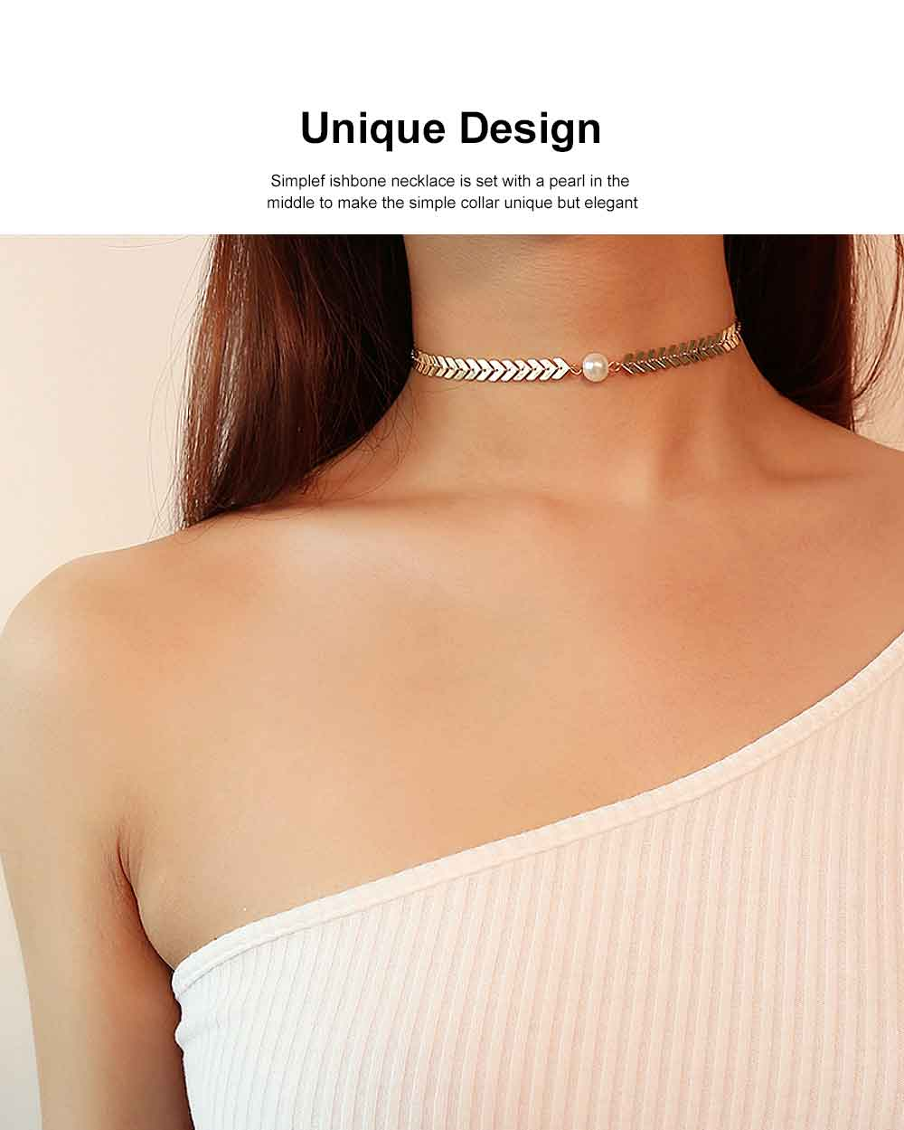 Fishbone Choker Necklace Pearl Pendant Chain Casual Choker Necklace for Women and Girls 1