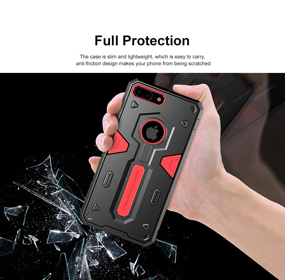 Armour Shape Cool Phone Back Cover Shell Case Color Mixture Stylish Holder TPU Built-In for iPhone 8 Plus PC Protective Case 1