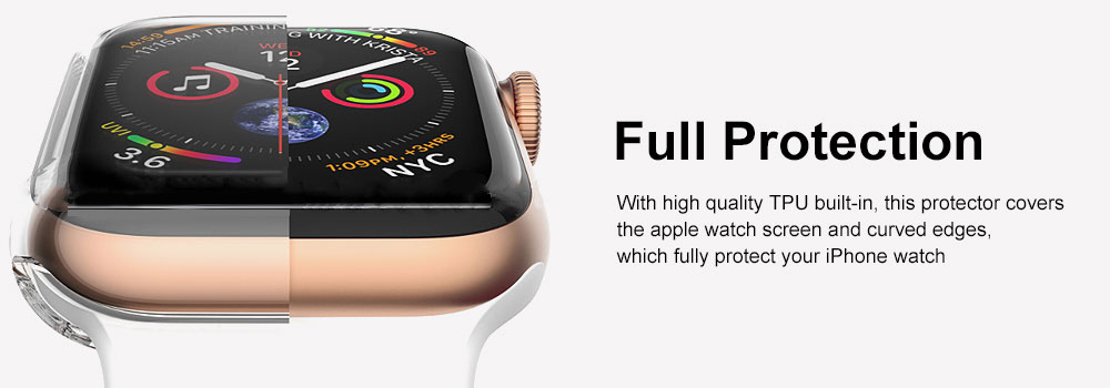 Apple Watch Case Built in TPU Screen Protector All-Around Protective Cover High Definition Clear Ultra-Thin Shell for Apple Watch Series 4 3 and Series 2 3