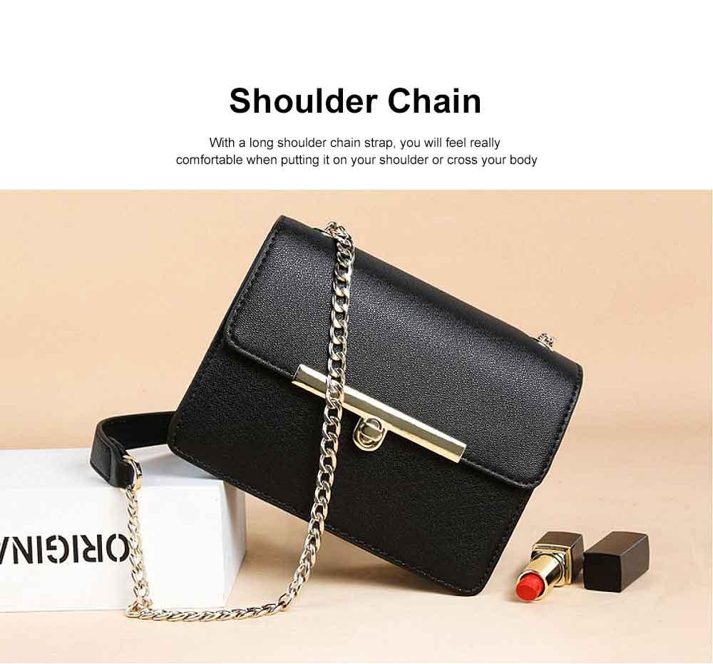 PU Leather Cross-Body Shoulder Clutch Purse Evening Handbag with Chain 1