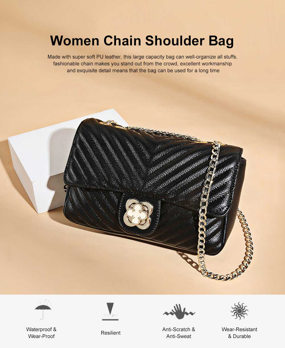 Women Fashion Shoulder Bag PU Leather Handbag Compact Crossbody Bag with Chain, Black 0