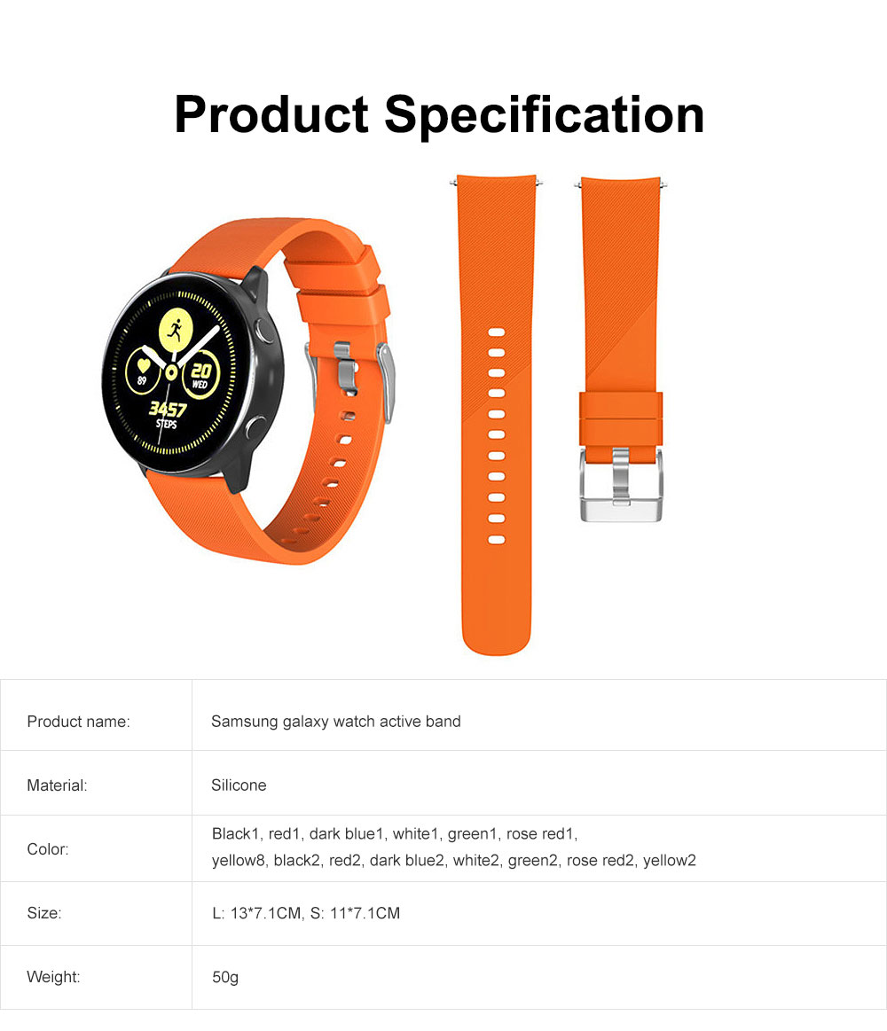 Replacement Band for Galaxy Watch Active Bands, Silicone Replacement Sport Strap Band Compatible for Samsung Galaxy Watch Active 20mm 6