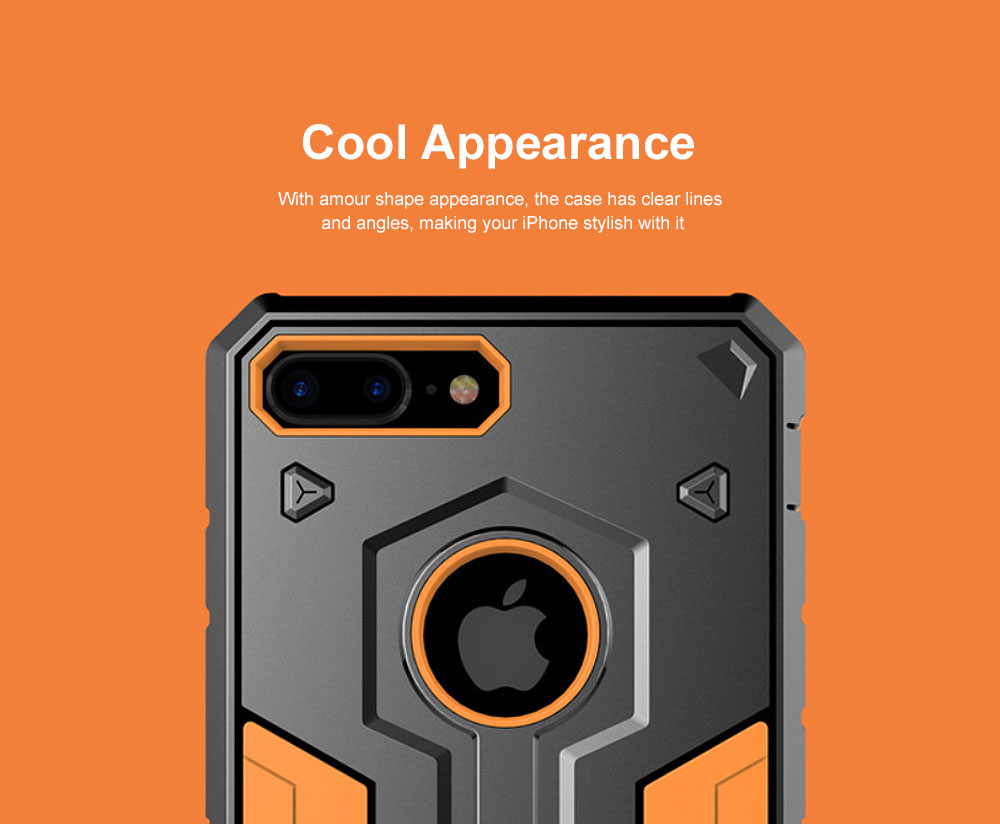 Armour Shape Cool Phone Back Cover Shell Case Color Mixture Stylish Holder TPU Built-In for iPhone 8 Plus PC Protective Case 4