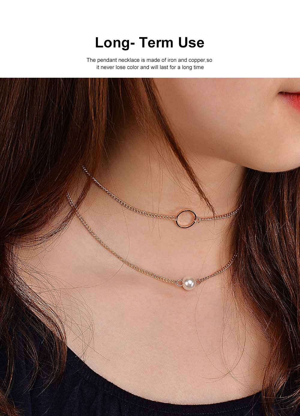 Layered Choker Necklace Pearl Pendant Necklace Double Anti-Rusty Chain Personalized Jewelry Gift for Women 1
