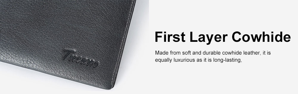 Bifold Genuine Cowhide Leather Men Wallet with RFID Technology Stylish Cash Purse 5
