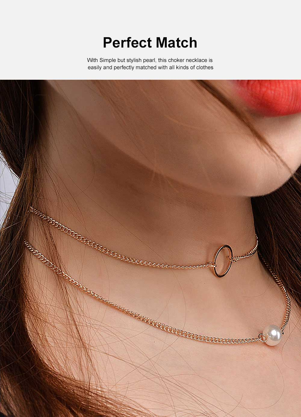 Layered Choker Necklace Pearl Pendant Necklace Double Anti-Rusty Chain Personalized Jewelry Gift for Women 2