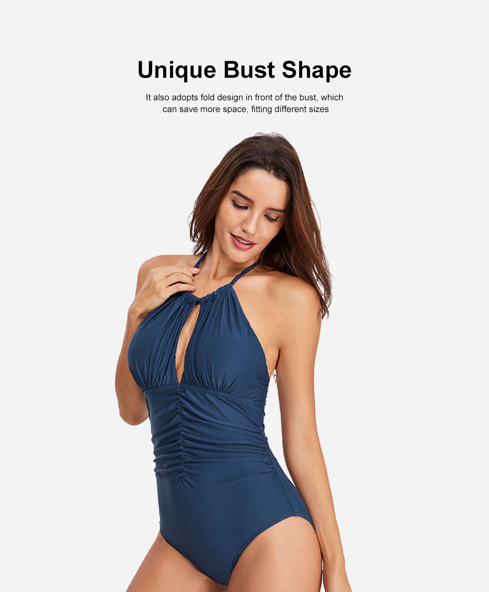Women One-Piece Bikini with Shoulder Bandage, Solid Color Slim Sexy Swimsuit with Fold Design 2