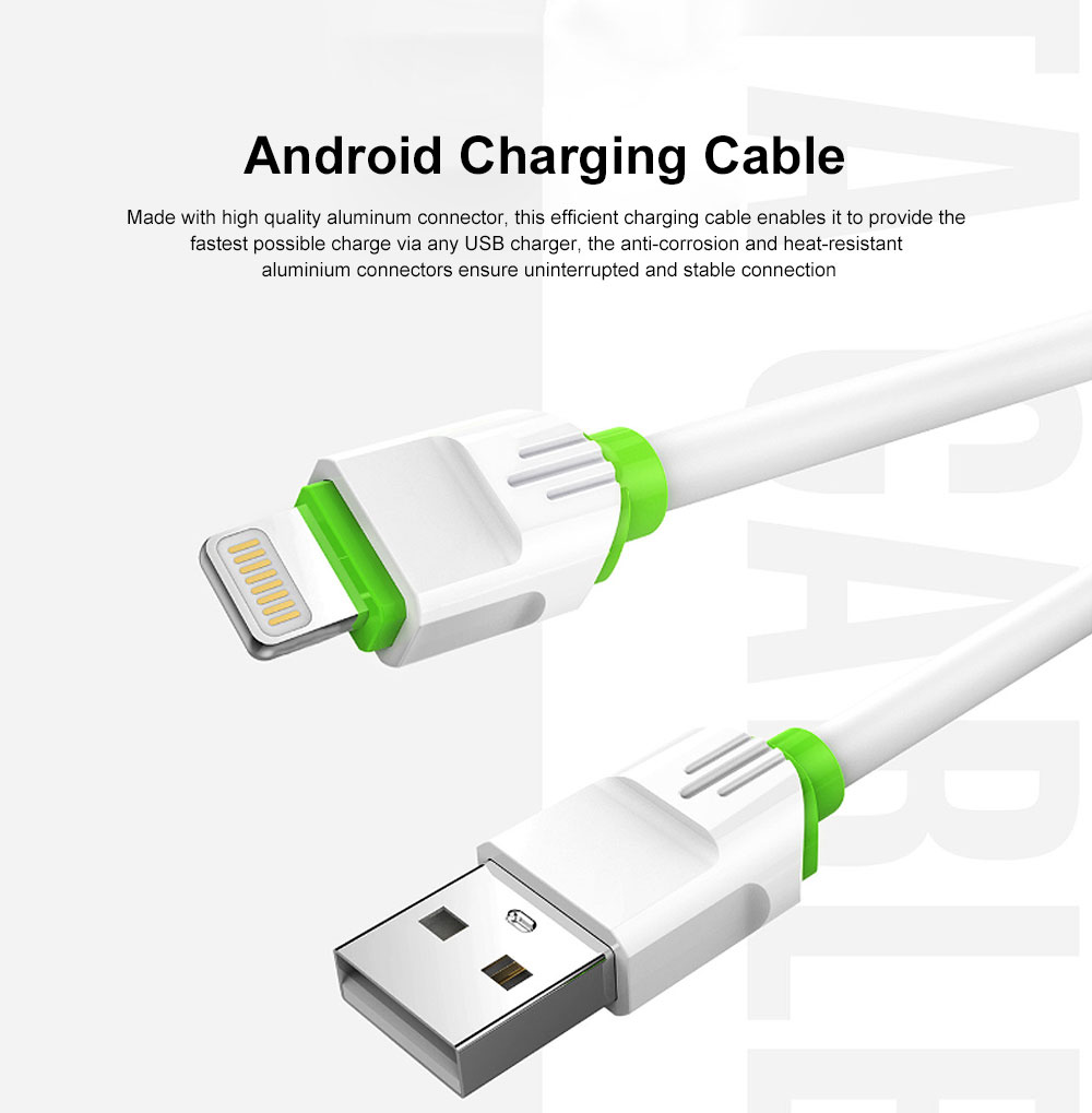 2.1A 1m USB Charging Cable Android iPhone Type C Phone Fast Charger Cord White 0