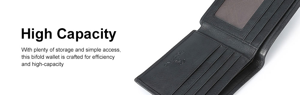 Bifold Genuine Cowhide Leather Men Wallet with RFID Technology Stylish Cash Purse 4
