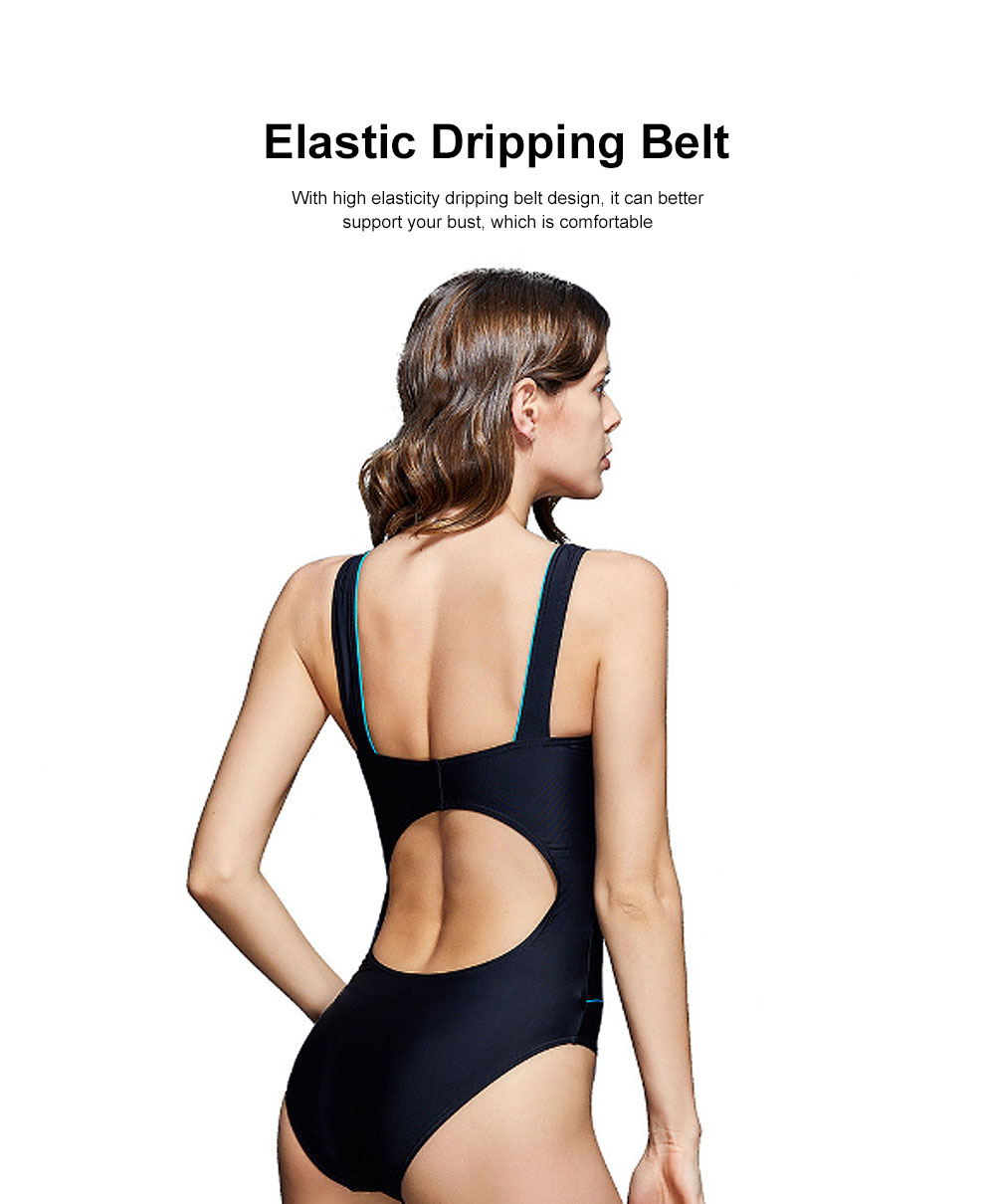 Professional Sport Swimsuit Minimalist Stylish Three Colors Joint Quick-dry Bikini with Elastic Dripping Belt 1