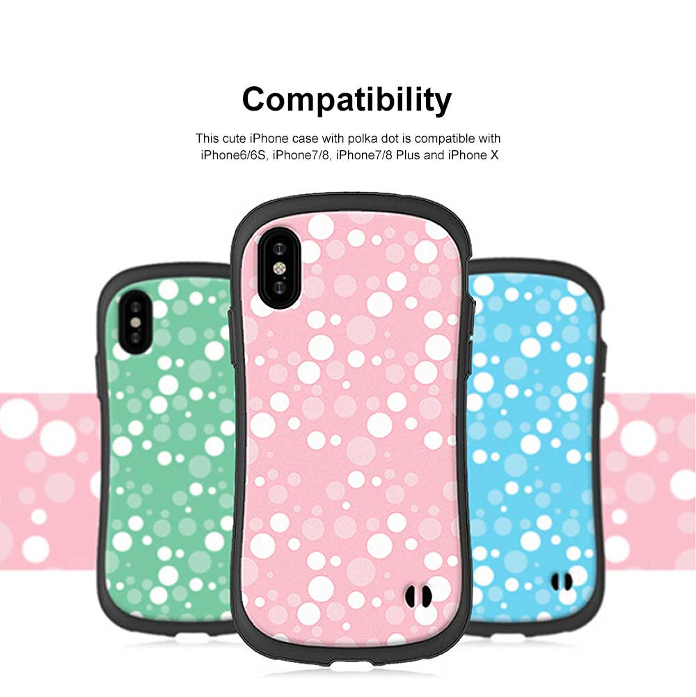 Cute Slim Lightweight iPhone Case with Polka Dot Pattern Shatter-proof Silicone Soft Shell Case for Apple iPhone 6 6S 7 8 6 plus 6s plus 7 plus 8 plus X 1
