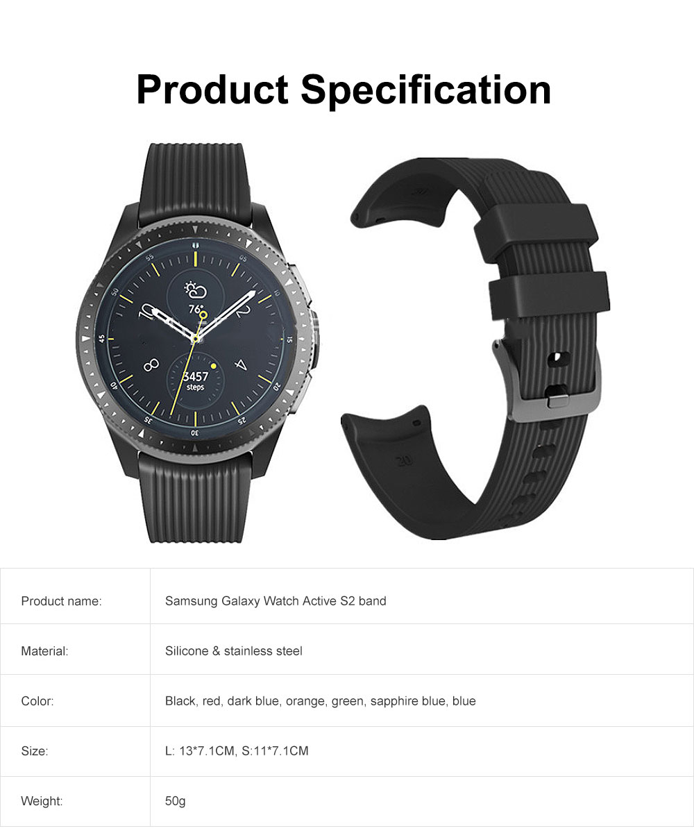 42mm Replacement Wristwatch Strap Soft Silicone Band with Stainless Steel Buckle for Samsung Galaxy Watch Active S2 6