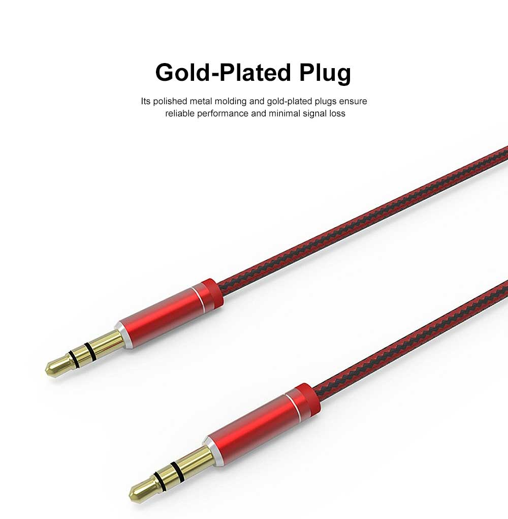 1 M High Quality Sound Audio Cable Nylon Braided AUX Cord with Metallic Housing & Gold-Plated Plug 1