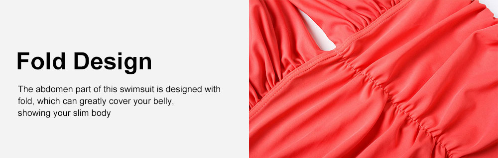 Women One-Piece Bikini with Shoulder Bandage, Solid Color Slim Sexy Swimsuit with Fold Design 3