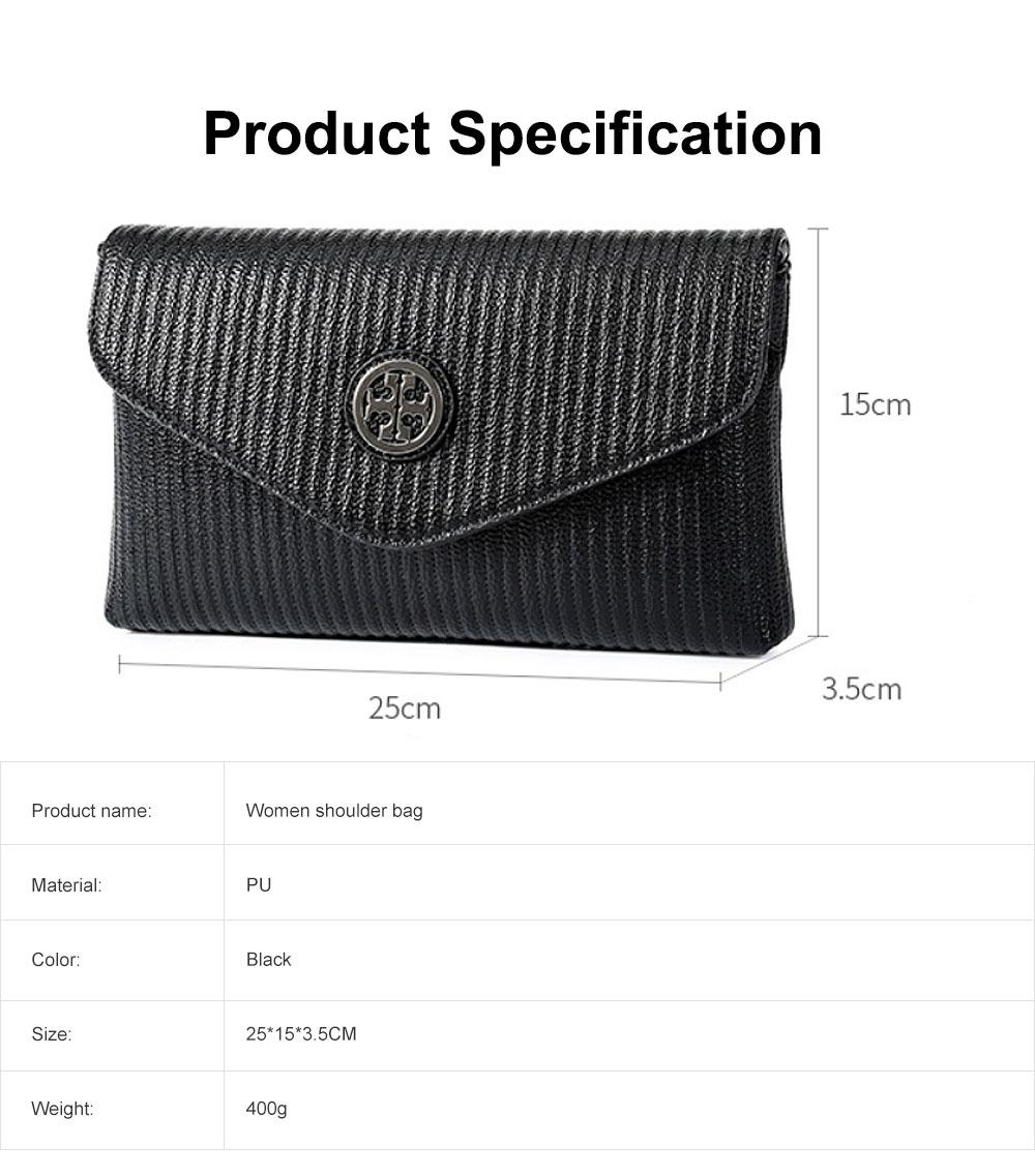 Women's Stylish Practical PU Leather Shoulder Bag Handbag with Detachable Shoulder Strap Black 6