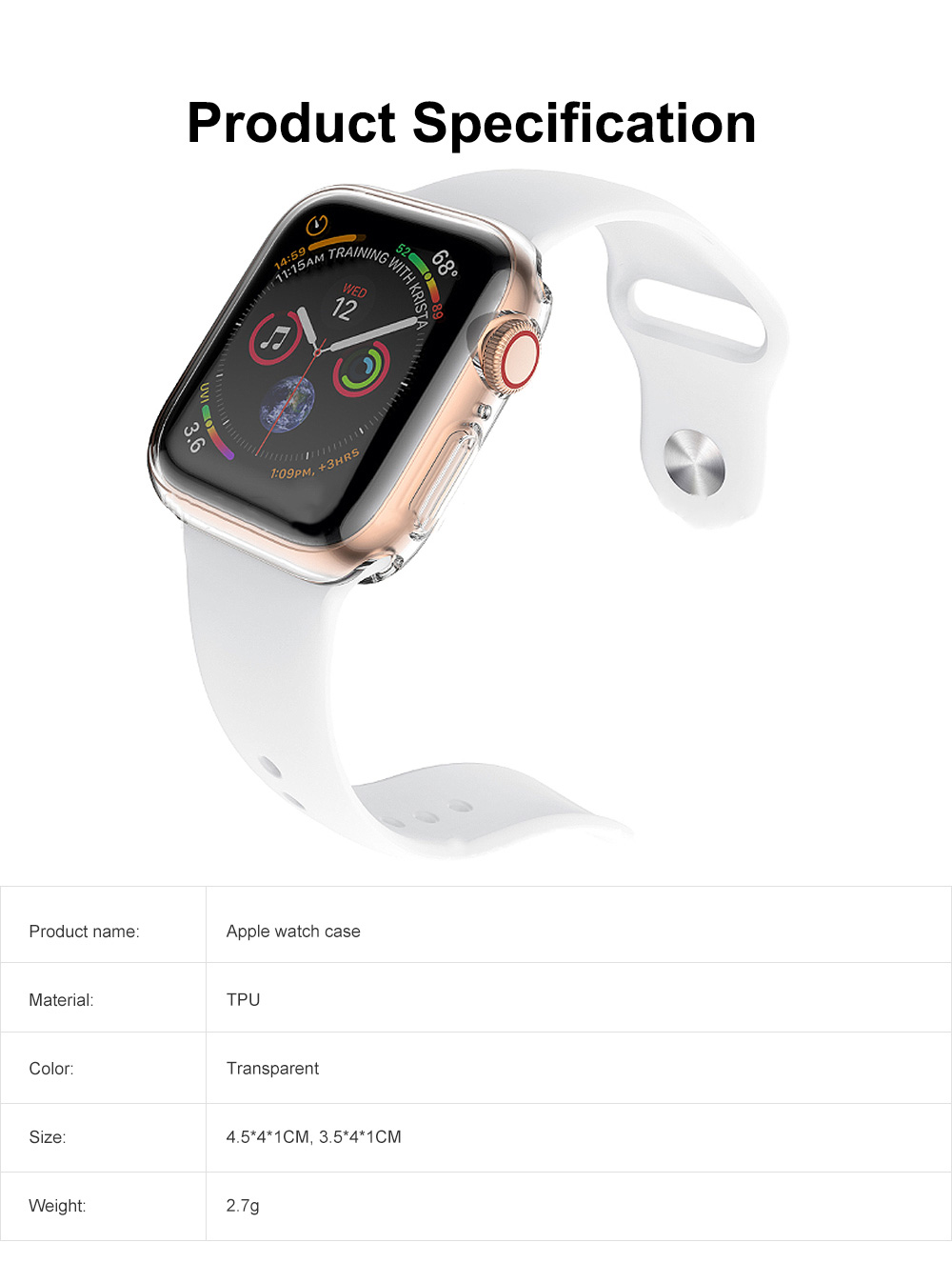 Apple Watch Case Built in TPU Screen Protector All-Around Protective Cover High Definition Clear Ultra-Thin Shell for Apple Watch Series 4 3 and Series 2 6