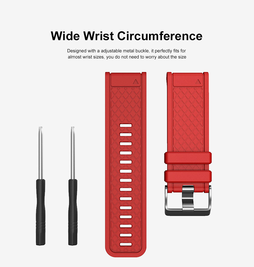 Silicone Replacement Watch Band with Stainless Steel Buckle for Garmin Fenix 1 Fenix 2 Fenix 3 Fenix 3 HR Fenix 5X 4