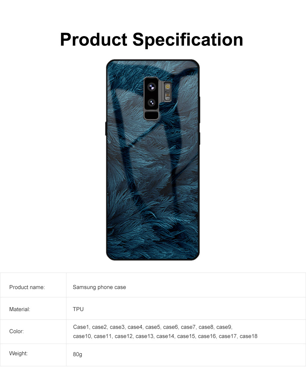 Stylish Protective Phone Case for Samsung Note 8 Note 9 S8 S9 Plus S10 Plus S10E, Silicone Tempered Glass Phone Cover Shatterproof with Unique Pattern 6
