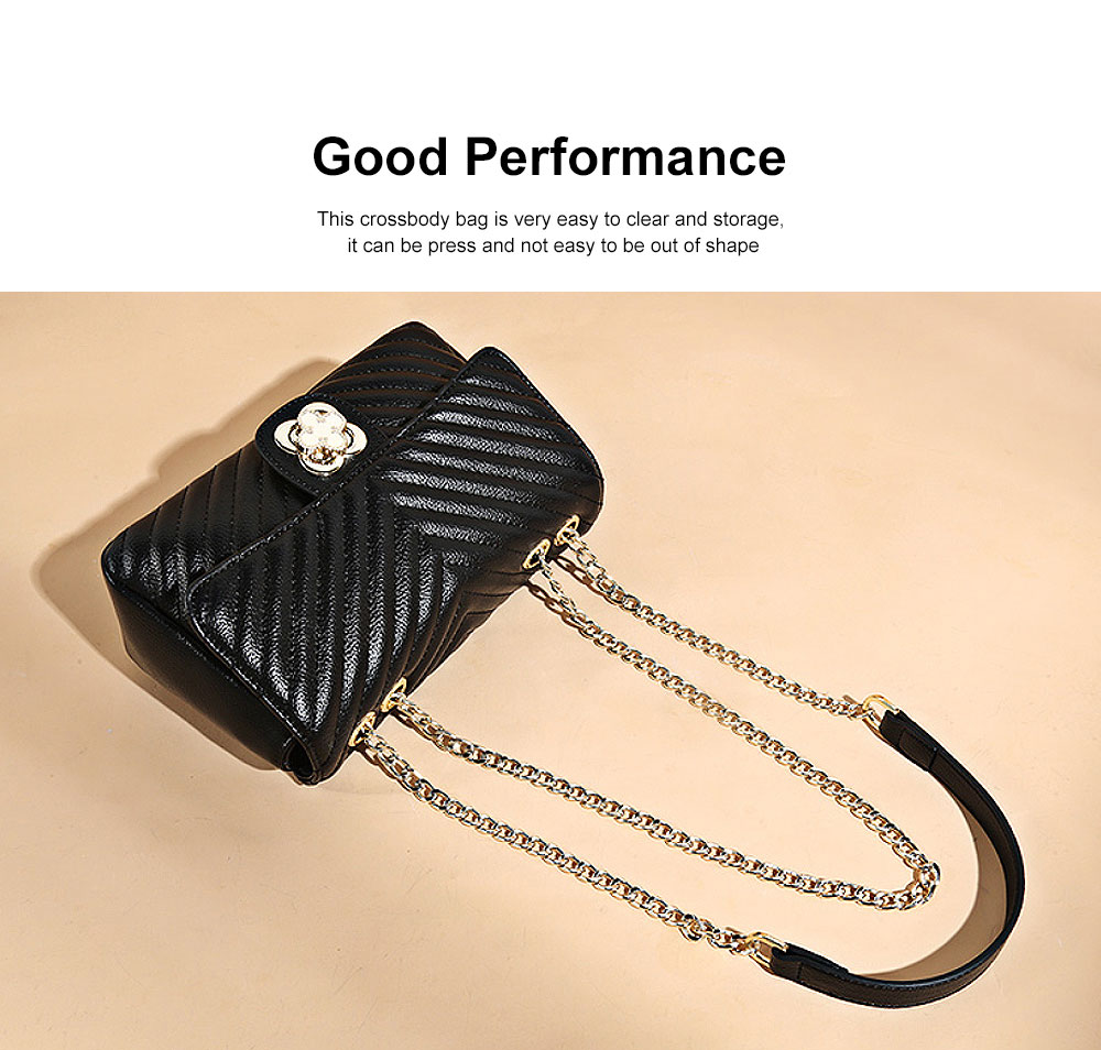 Women Fashion Shoulder Bag PU Leather Handbag Compact Crossbody Bag with Chain, Black 2