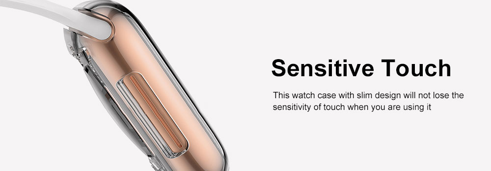 Apple Watch Case Built in TPU Screen Protector All-Around Protective Cover High Definition Clear Ultra-Thin Shell for Apple Watch Series 4 3 and Series 2 5