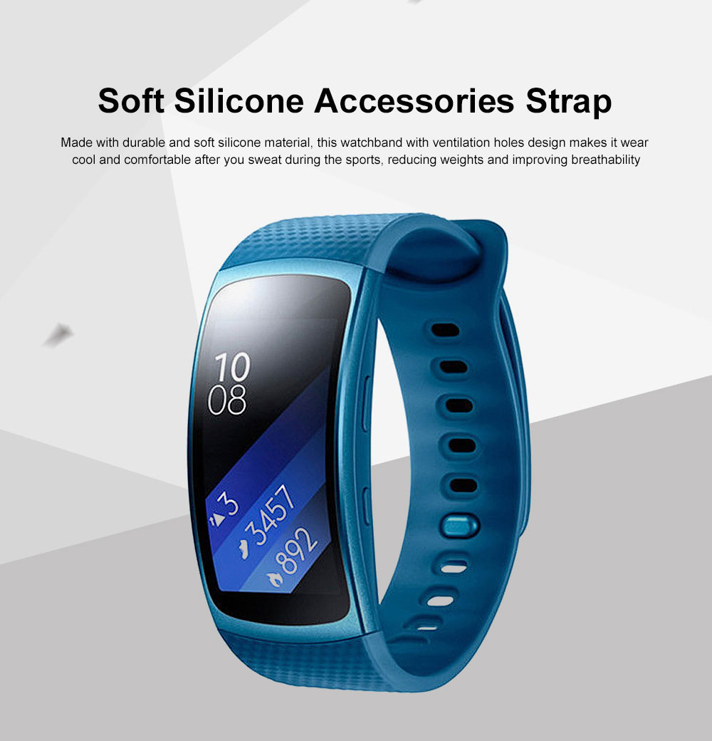 Replacement Watch Band Soft Silicone Accessories Strap for Samsung Gear Fit 2 Gear Fit 2 Pro 0