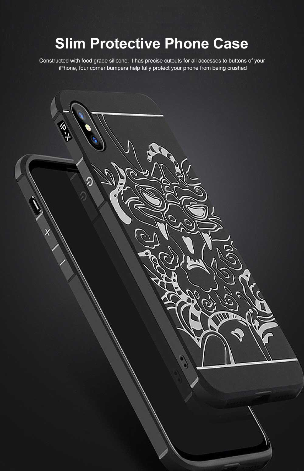 Silicone iPhone Protective Case Shell Slim Phone Back Cover with Full Body Protection with Dragon Pattern for iPhone X XS XR XS MAX 0