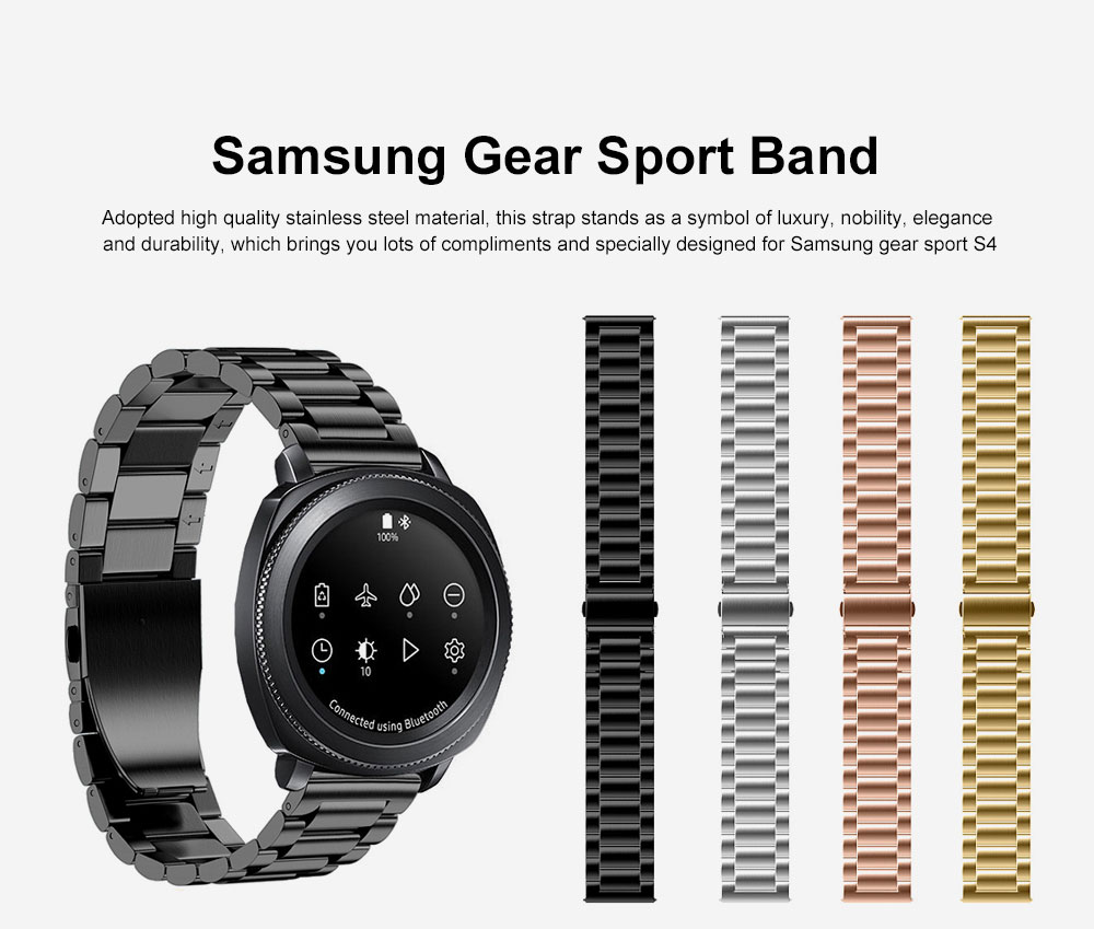 Replacement Bands 20mm Upgraded Polished Solid Stainless Steel Watch Strap Bracelet for Samsung Gear Sport S4, Gear S2 Classic, Galaxy Watch Active 0