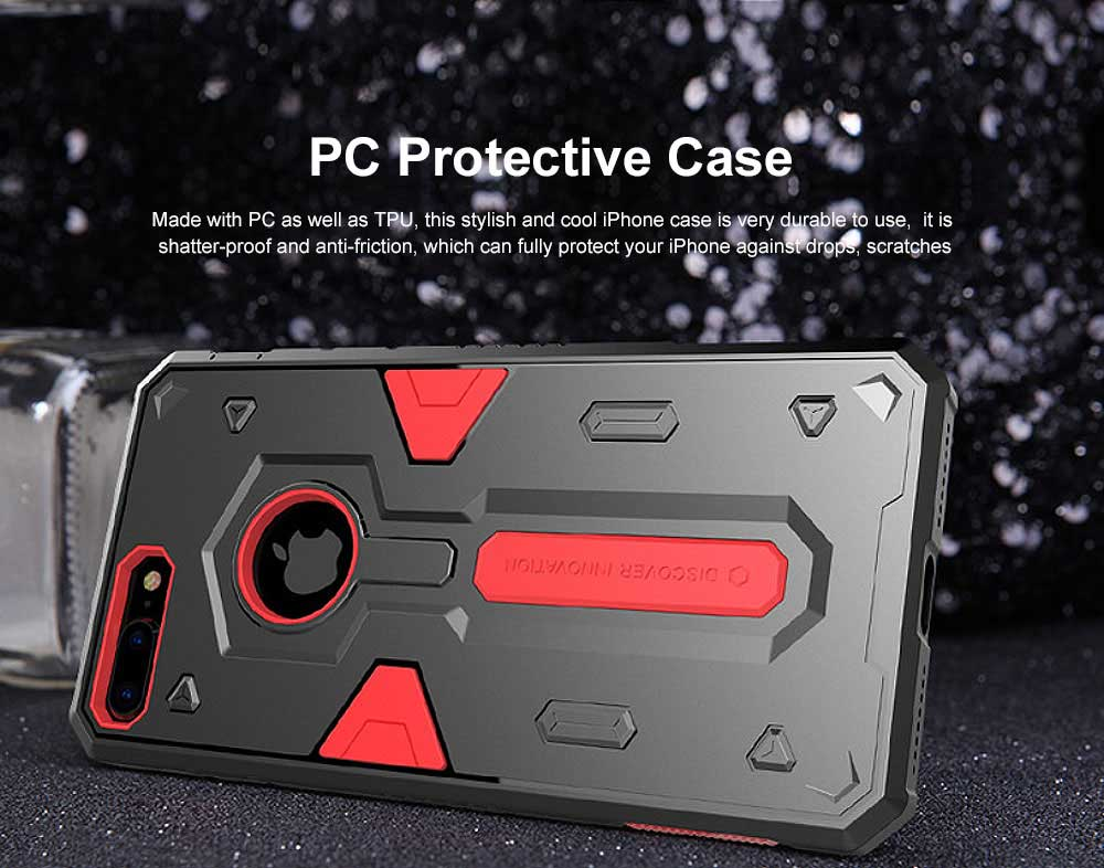 Armour Shape Cool Phone Back Cover Shell Case Color Mixture Stylish Holder TPU Built-In for iPhone 8 Plus PC Protective Case 0