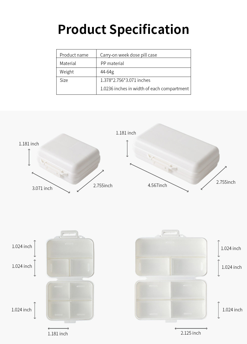 Mini-sized Medicine Container for Outdoor Travelling, Concise Potable White Little Carry-on Pill Case One Week Dose Dispenser 6