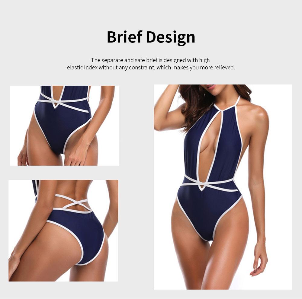 Quick Dry Terylene One-piece Backless Women Sexy Bikini, European Style Swimsuit Navy Competitive Sport Beachwear Bathing Suit 5