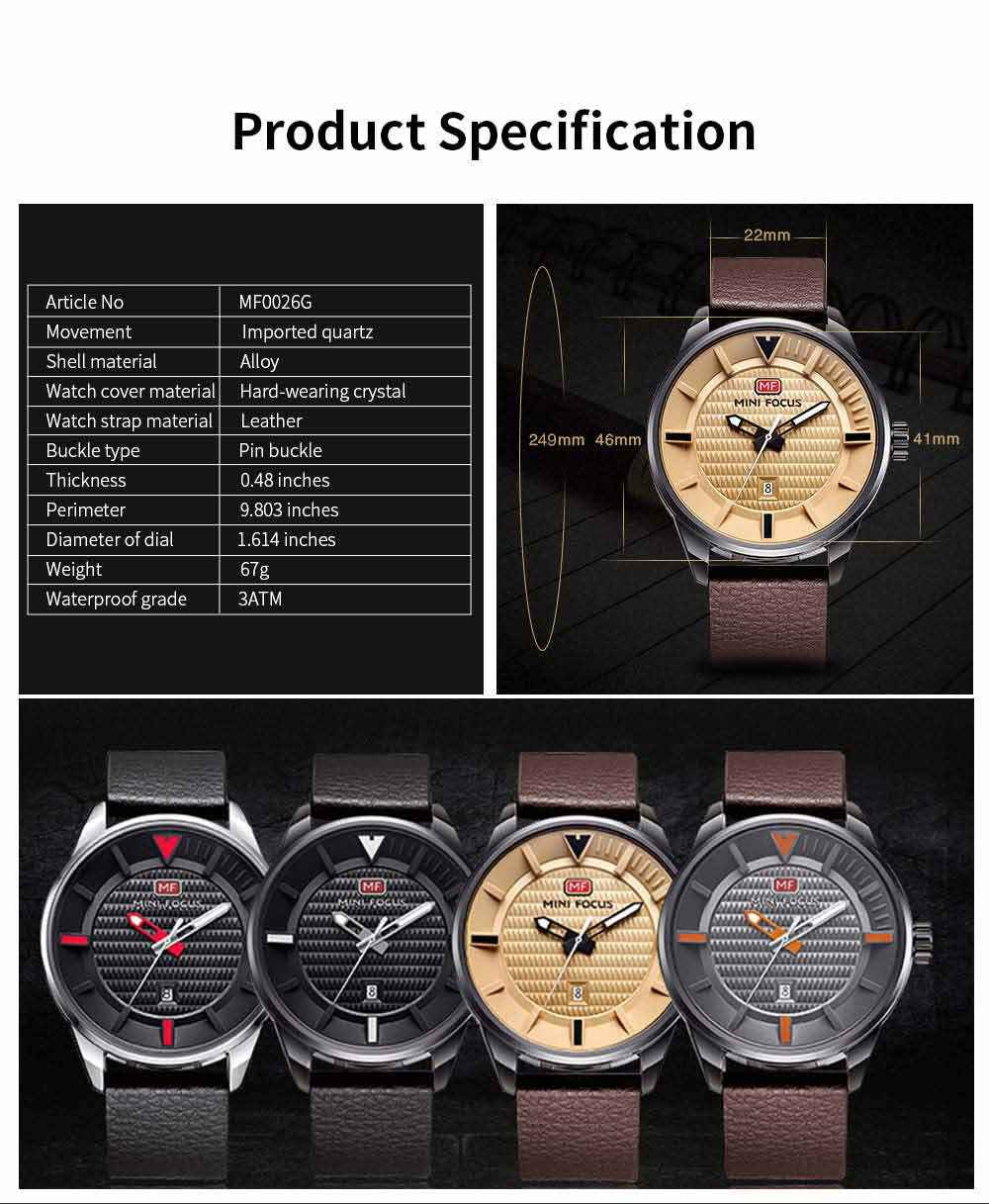 MINI FOCUS Men's Watch with Japanese Movement, High Quality Quartz Watch with Leather Strap Waterproof 30M 4