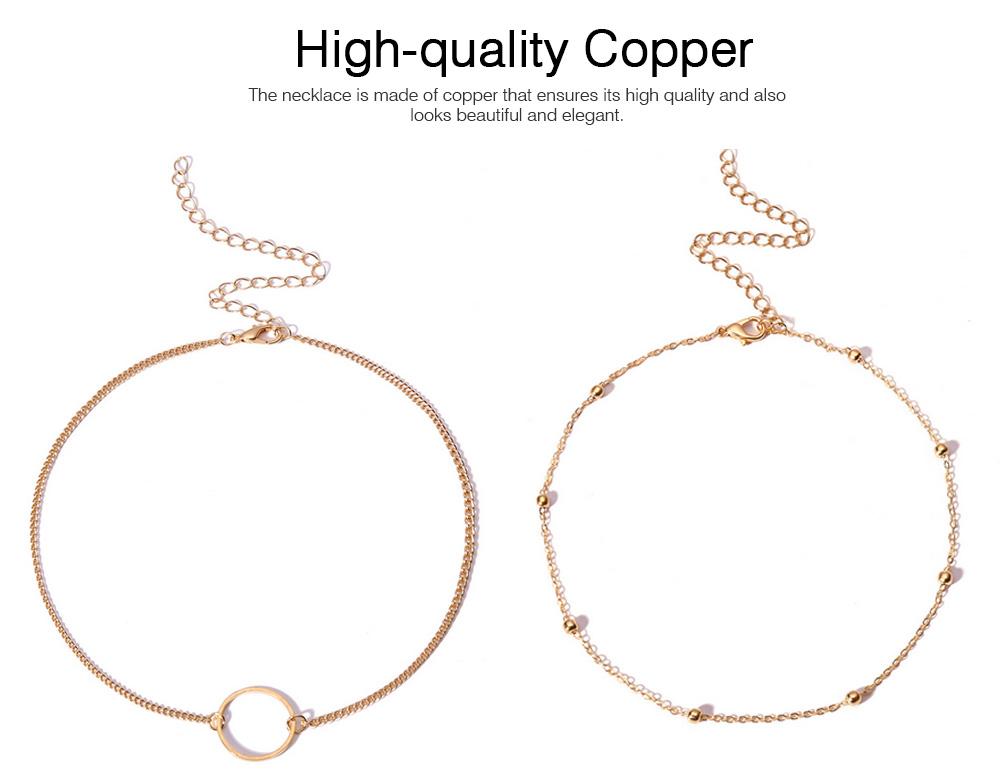 Geometric Copper Pendant Necklace, Multi-layer Simple Elegant Necklace Golden Alloy Neck Accessory 1