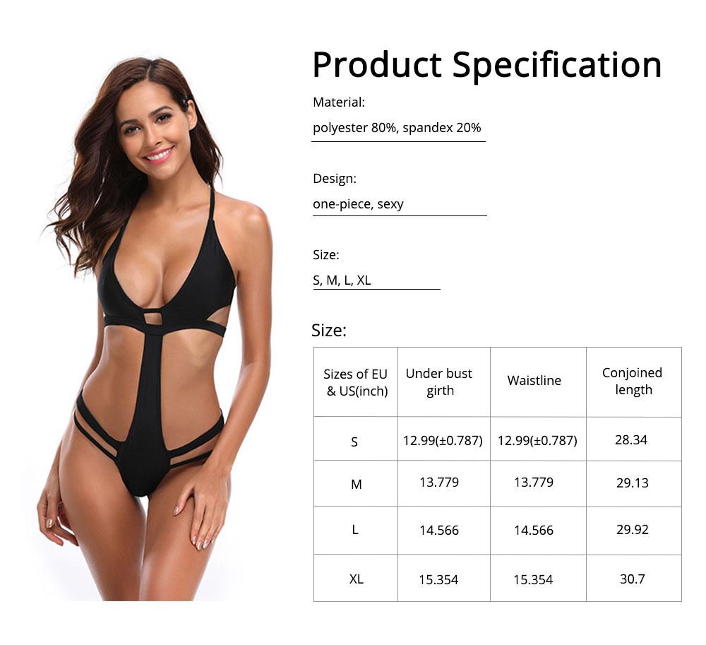Polyester Material Black Bikini for Women Elastic Bathing Suit One-piece Style Swimsuit Summer Swimwear 6