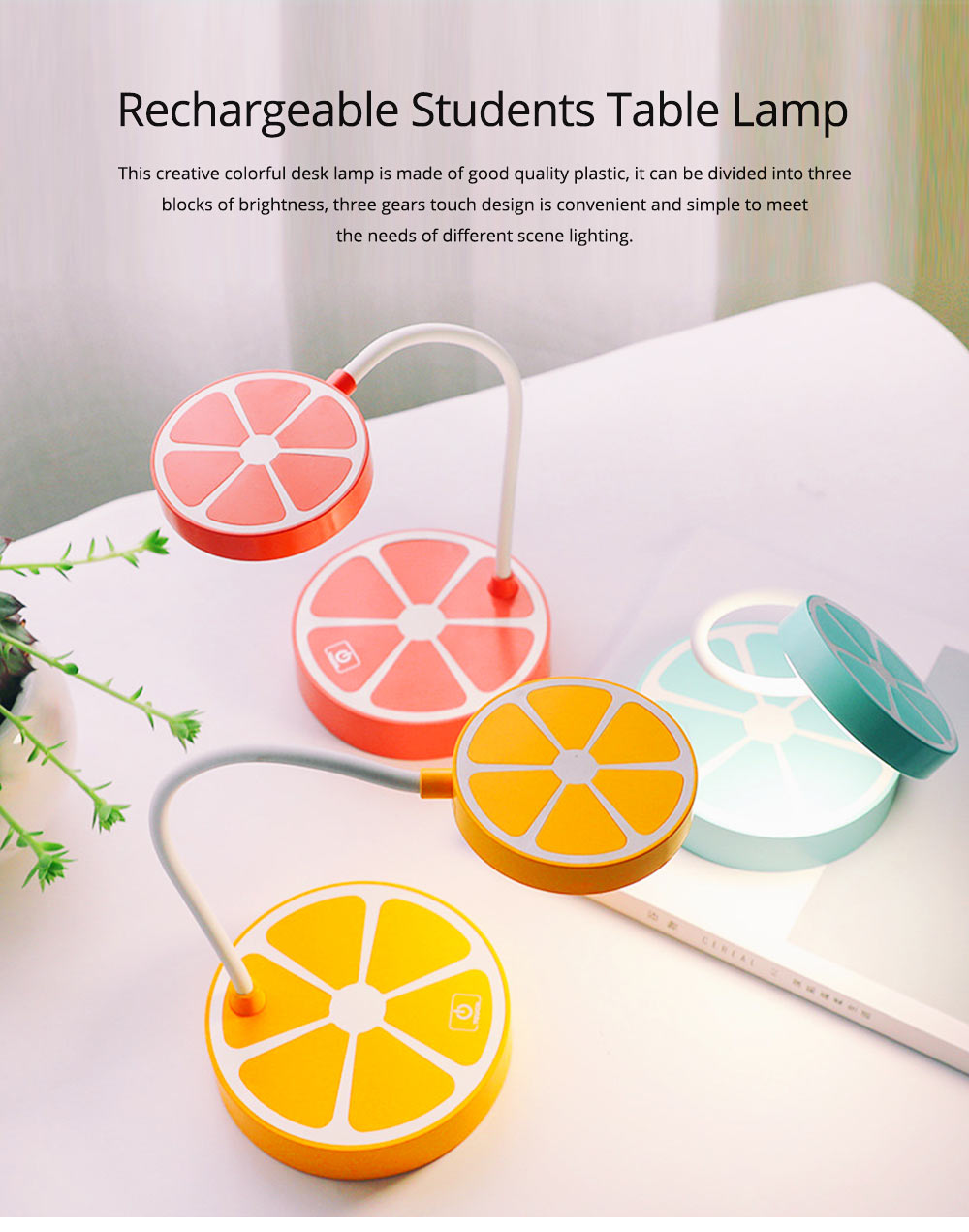 Rechargeable Students Candy Color LED Table Lamp Power-Saving Bedroom Desk Lamp 0